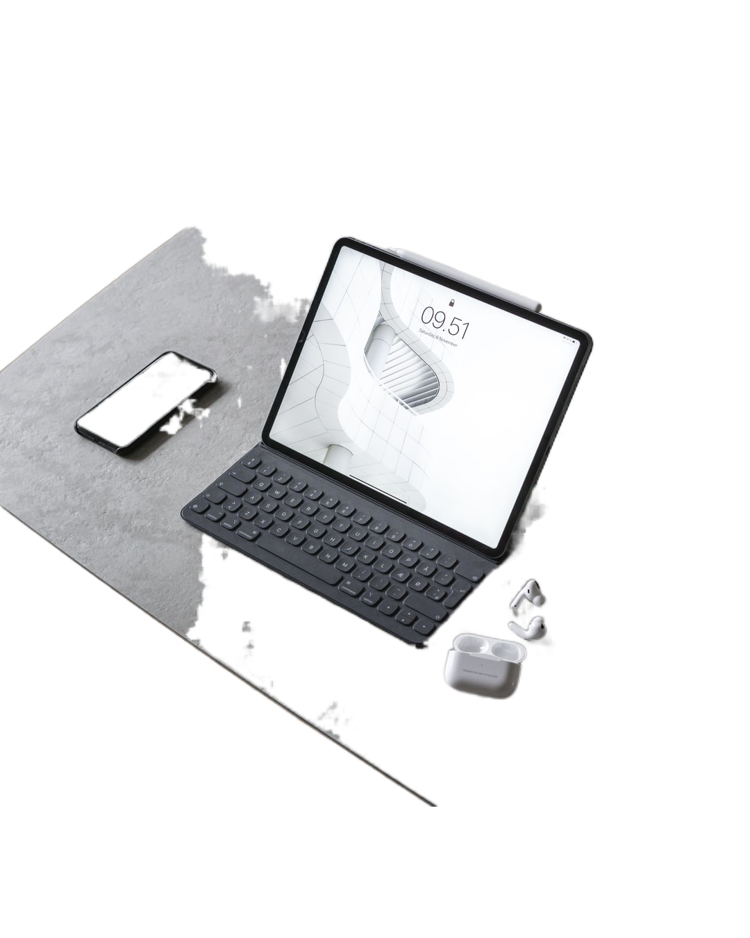 black and white laptop computer on white table
