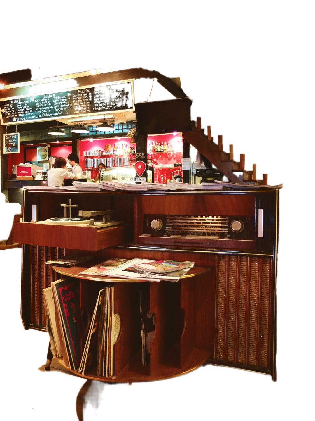 brown wooden counter with brown wooden stools