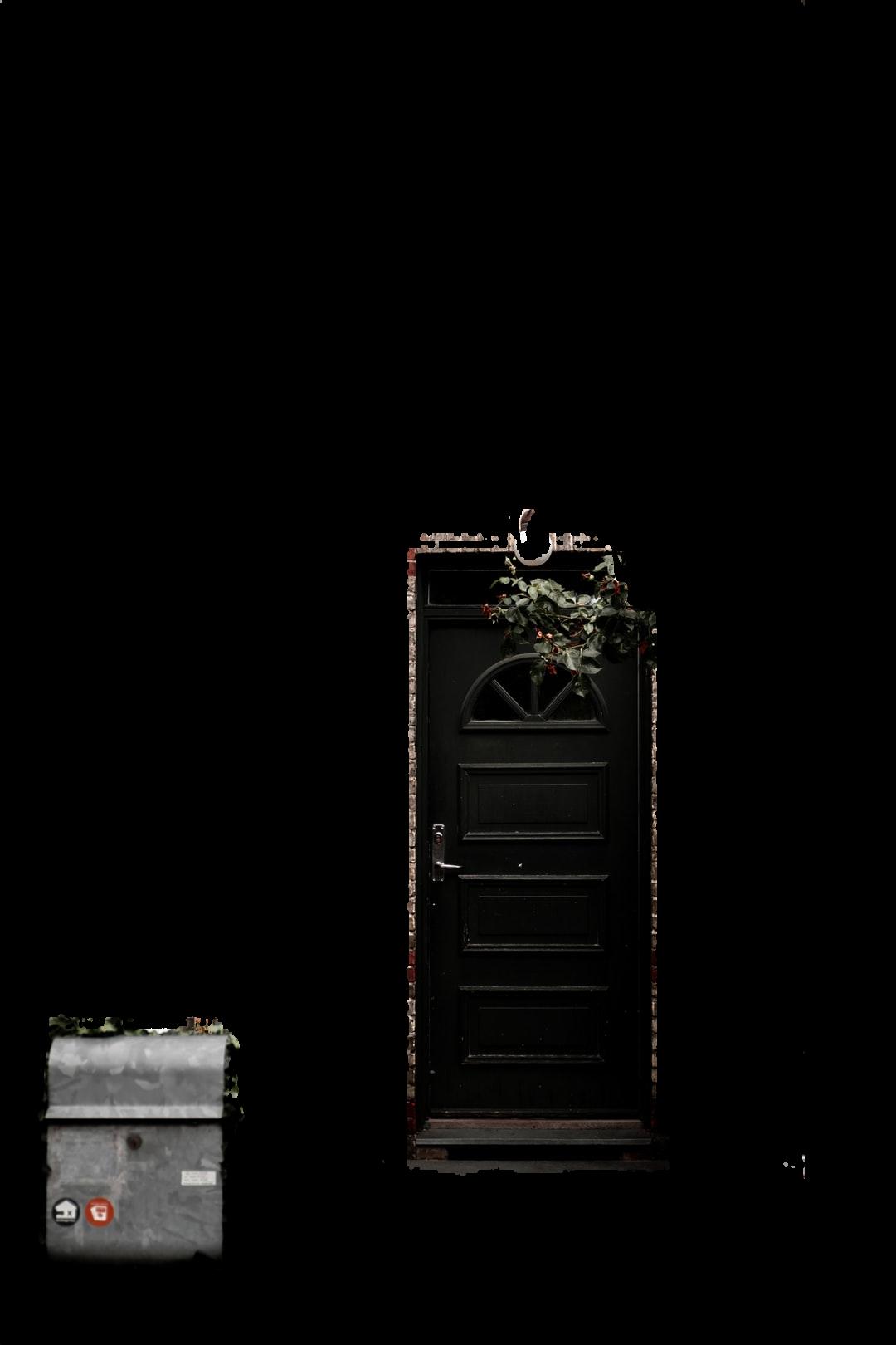 brown wooden door with red flowers