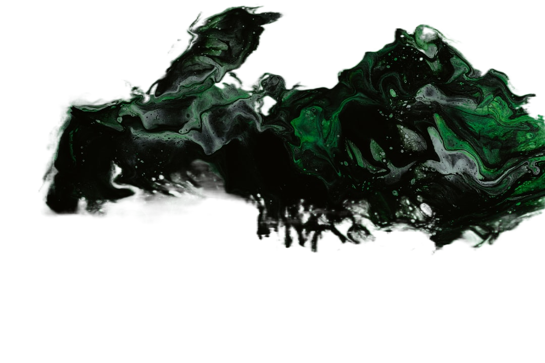 green white and black abstract painting