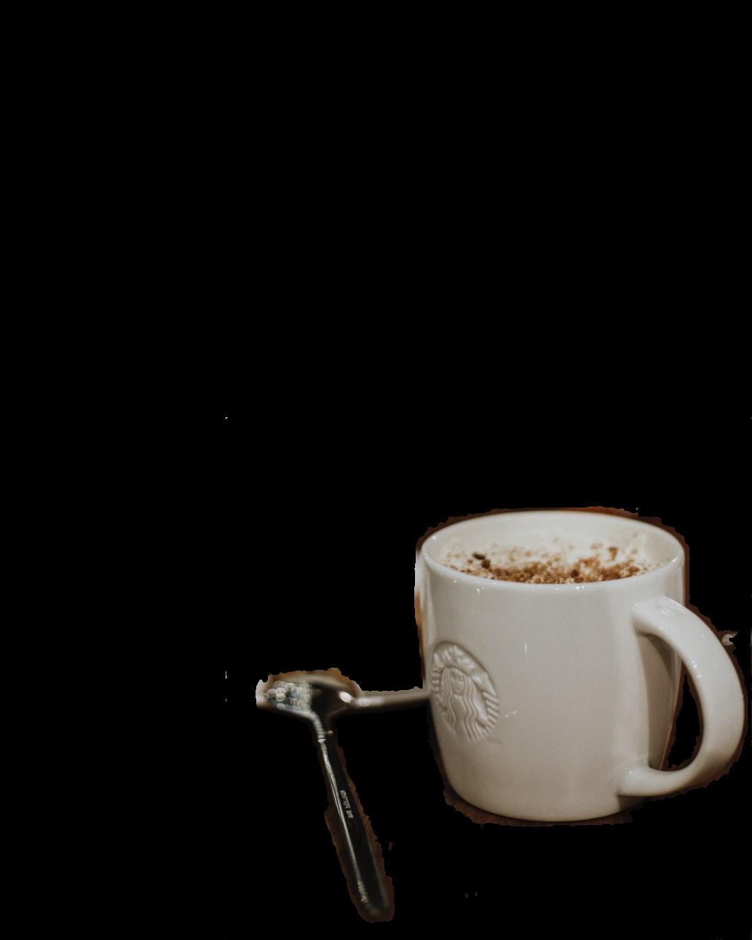 white ceramic mug on white ceramic plate beside stainless steel spoon
