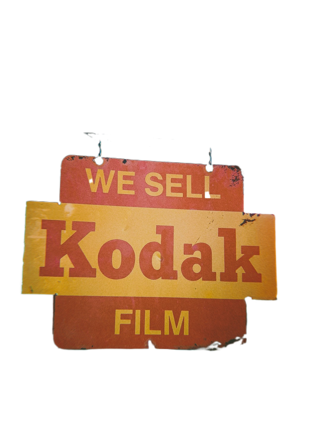 selective focus photography of we sell kodak film signage