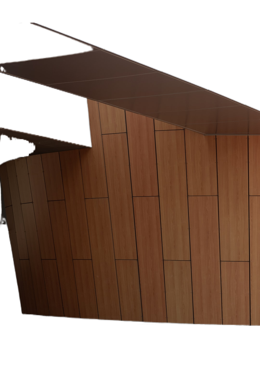 brown wooden wall with white ceiling