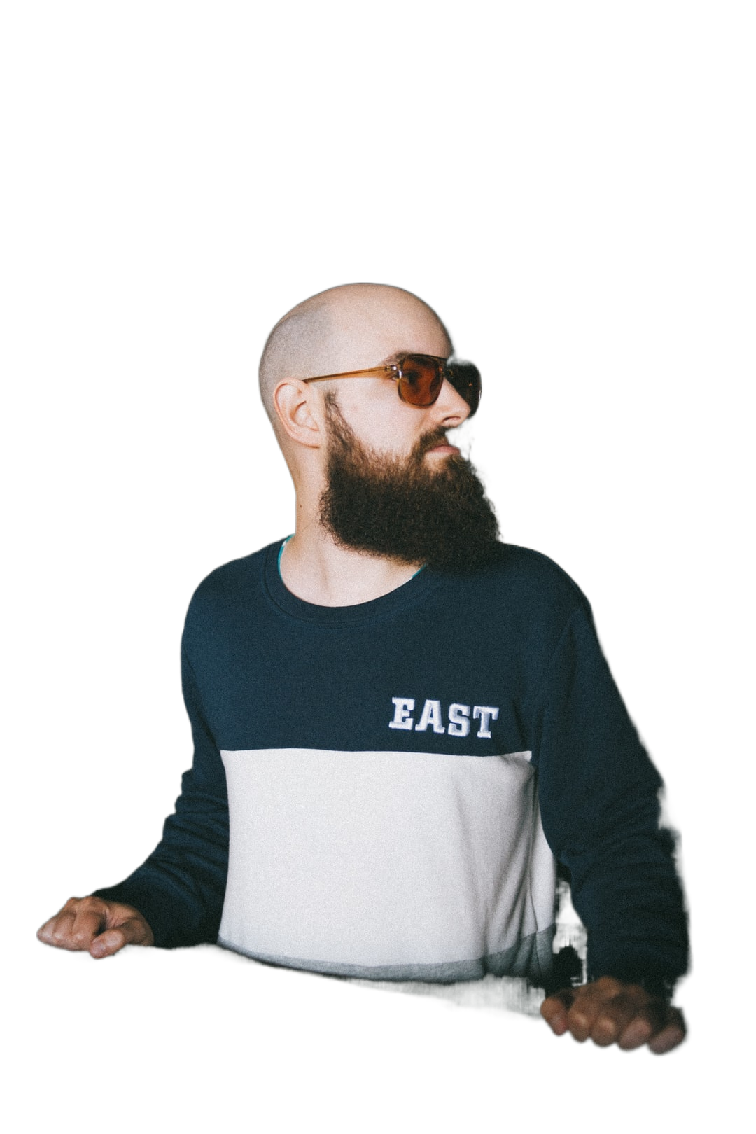 man in black and white crew neck long sleeve shirt wearing black sunglasses