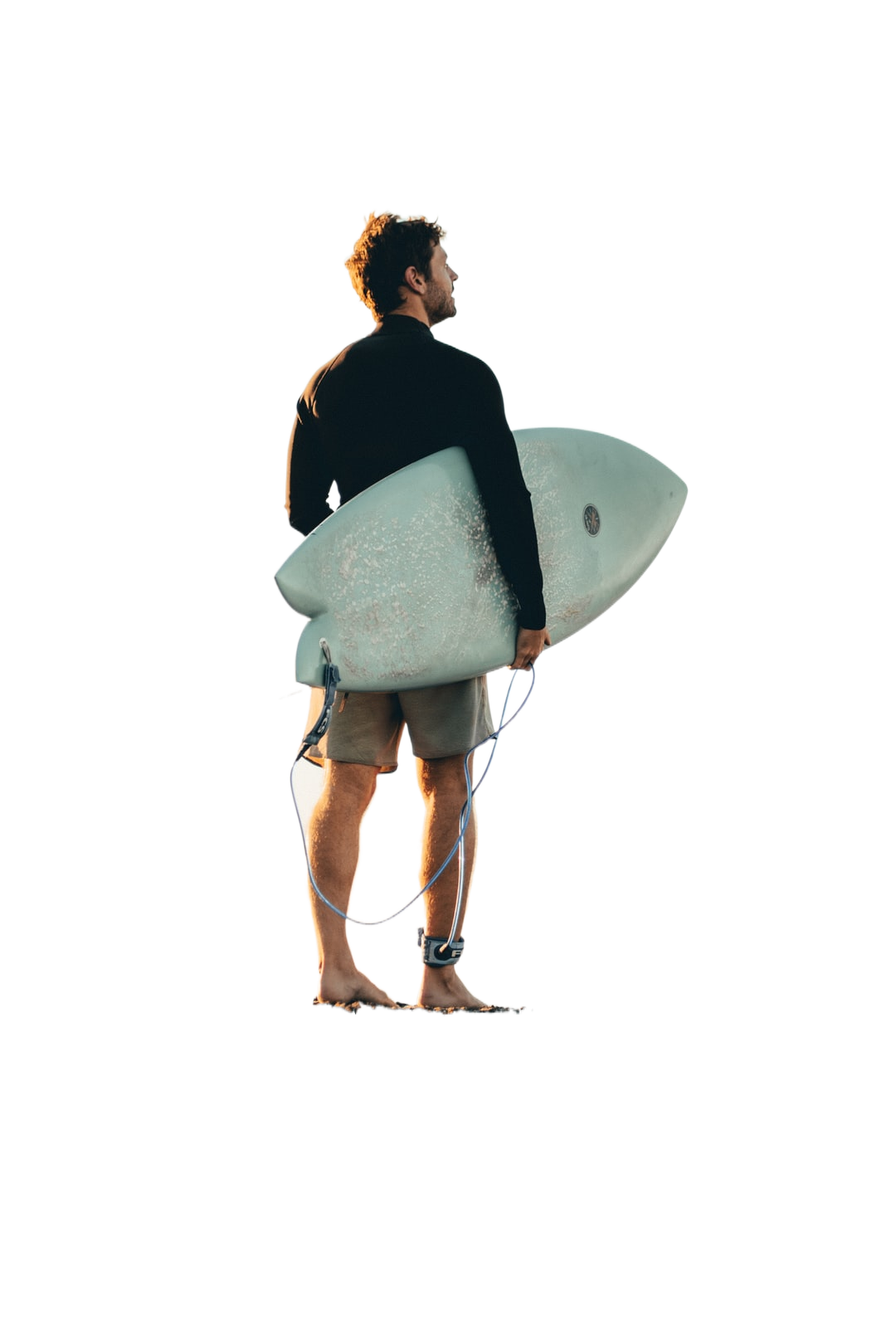 woman in black shirt holding white surfboard